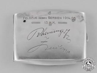 Austria, Empire. A Silver Cigarette Case of the 13.Korpskommando - Agram