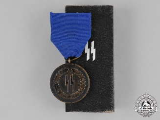 Germany, SS. A SS Four Year Long Service Medal with Case