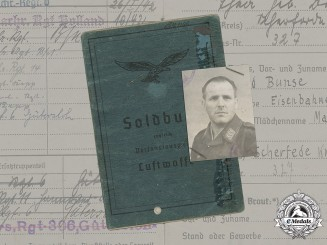 Germany, Luftwaffe. The Soldbuch Of Radio Operator NCO Heinrich Bunse (KVK2