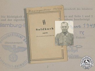 Germany, SS. A Soldbuch of Oberwachtmeister Of The Schutzpolizei Karl Baumgartner, 1945