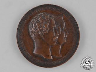 Anhalt, Duchy. An 1843 Leopold IV Frederick & Frederica Wilhelmina 25th Wedding Anniversary Medal