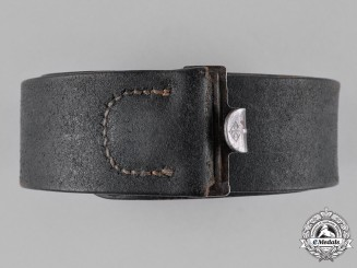 Germany, Wehrmacht. A Black Leather Belt by Overhoff & Cie.