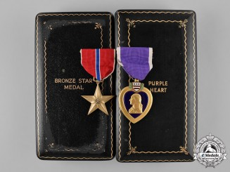 United States. A Second War Bronze Star Medal and Purple Heart, to Walter George Schacht, United States Army, Wounded during the Battle of Metz, October 1944