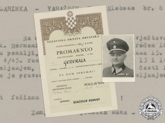 Croatia. A Unique General's Promotion & Death Confirmation Document to General of Jewish Ancestry