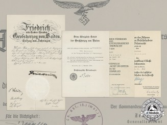 Germany, Heer. The First And Second War Award Documents Of Major Felix Spiegel