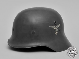 Germany, Luftwaffe. A Double Decal Aluminum Parade Helmet