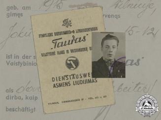 Germany, Third Reich. A German/Lithuanian Identity Card Belonging to K. Cibulskis