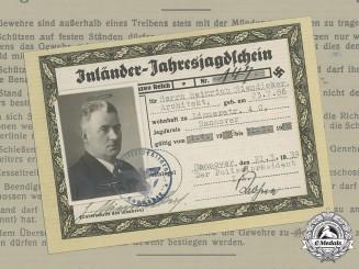Germany, Ordnungspolizei. A Hunting License Belonging to Heinrich Niendieker