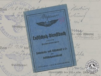 Germany, RLB. A Luftschutz Service Book/Identity Card Belonging to Paul Wagener
