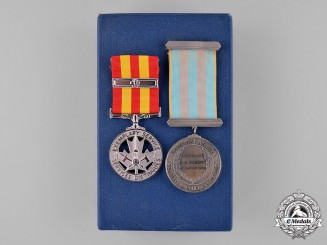 Canada. Two Fire Services Awards, to Lieutenant J.M. Robert, LaSalle Fire Services