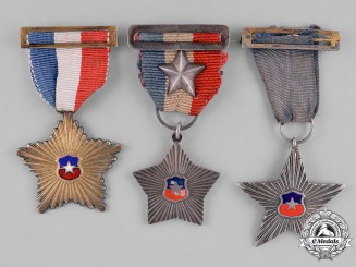 Chile, Republic. A Lot of Army Forces Service Stars, c.1920-1930