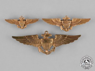 United States. A Lot of Three US Naval Aviator Wings