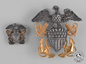 United States. A Pair of United States Navy Officer's Cap Badges