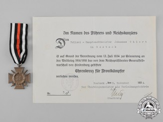 Germany, Imperial. An Honour Cross and Award Document to Johannes Ohlert