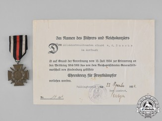 Germany, Imperial. An Honour Cross and Award Document to Alhard von dem Busche