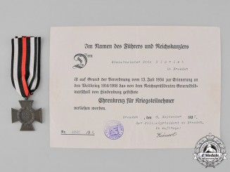Germany, Third Reich. An Honour Cross of the World War 1914/1918 with Document of Issue