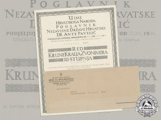 Croatia. A Formal Croatian Document for the Award of the King Zvonimir Order, III lass with Swords