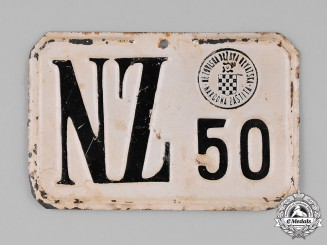 "Croatia, Independent State. A Bicycle Plate of the ""Peoples Defense"" Organization"