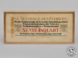 Germany, NSDAP. A Framed Congratulatory Document To Seyß-Inquart 1941