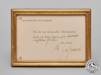 Germany, NSDAP. A Framed Note Of Appreciation By Reich Commissioner Of The Netherlands, Seyß-Inquart
