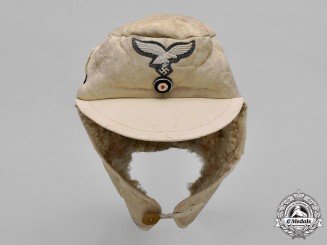 Germany, Luftwaffe. A Fur & Leather Winter Cap, 1943