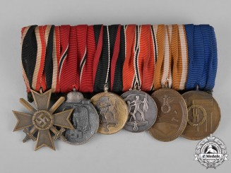 Germany, SS. An SS Long Service & Campaign Medal Bar