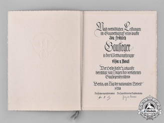 Germany, HJ. A Large Gausieger Award Document In Folder To Ida Fröhlich, 1938