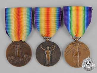 Belgium, Kingdom. France, Third Republic. Italy, Kingdom. Three Victory Medals