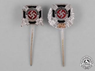 Germany, Reichstreubund. A Pair of Reichstreubund Veterans Organization Stick Pins by Gante