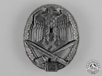 "Germany, Wehrmacht. A General Assault Badge, Special Grade ""25"", by Rudolf Karneth & Söhne"