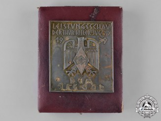 Germany, HJ. An Award Plaque for the Performance Show of the Thüringen HJ, with Presentation Case, by Gustav Brehmer
