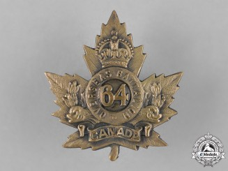 Canada. A 64th Infantry Battalion Cap Badge