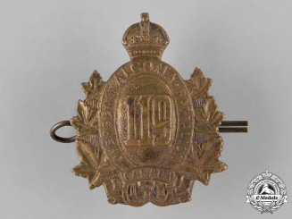 "Canada. A 119th Infantry Battalion ""Algoma Overseas Battalion"" Cap Badge"