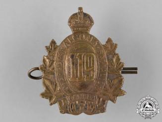 "Canada, CEF.. A 119th Infantry Battalion ""Algoma Overseas Battalion"" Cap Badge"