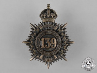 "Canada. A 139th Infantry Battalion ""Northumberland Battalion"" Cap Badge"