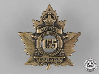 "Canada. A 155th Infantry Battalion ""Quinte Battalion"" Cap Badge"