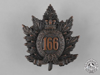 "Canada. A 166th Infantry Battalion ""Queen's Own Rifles of Canada"" Cap Badge"