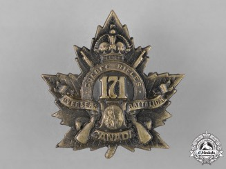 "Canada. A 171st Infantry Battalion ""The Quebec Rifles"" Cap Badge"