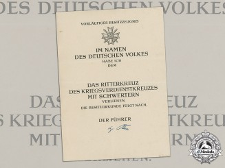 Germany, Wehrmacht. A Very Scarce Unissued Award Document for a Knight's Cross of the War Merit Cross with Swords