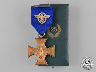 Germany, Ordnungspolizei. A Police 25-Year Long Service Cross with Case