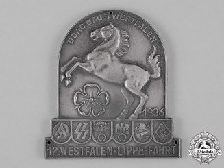 Germany, DDAC. A 1936 Westphalia German Automobile Club Rally Plaque, by Carl Poellath