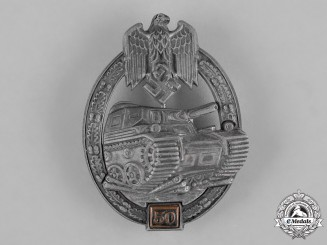 Germany, Wehrmacht. A Special Grade Tank Badge for 50 Panzer Assaults by Gustav Brehmer