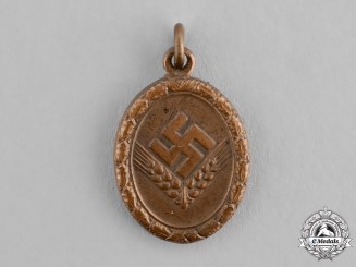 Germany, RAD/wJ. A Miniature Bronze Grade Reich Labour Service of Young Women (RAD/wJ) Faithful Service Medal