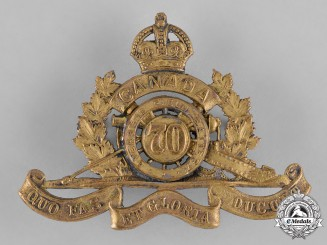"Canada. A 70th Overseas Field Battery Cap Badge, Style ""B"", c.1916"