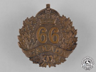 Canada. A 66th Infantry Battalion Cap Badge, c.1915