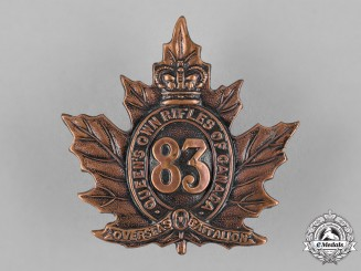 "Canada. A 83rd Infantry Battalion ""Queen's Own Rifles"" Cap Badge, c.1916"