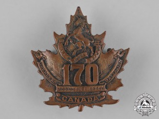 "Canada. A 170th Infantry Battalion ""Mississauga Horse"" Cap Badge, c.1916"
