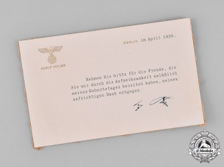 Germany, Third Reich. A Thank You Card from AH, c.1939