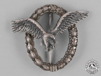 """Germany, Luftwaffe. An Early Pilot's Badge, """"Thin Wreath"""" Variant, by Juncker"""