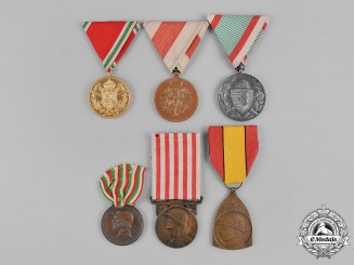 Austria, Belgium, Bulgaria, France, Hungary, Italy. A Lot of Six First War Medals